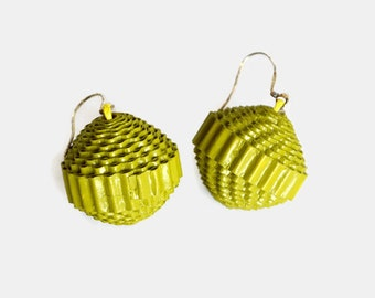 hay green: Statement Earrings PALLA - made of corrugated cardboard