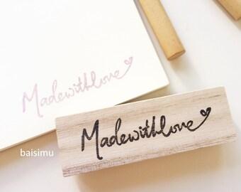 Made with love handlettered rubber stamp / hand carved/ maker stamp/ shop stamp