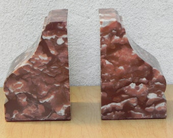 Vintage Brown & White Marble Modern Bookends