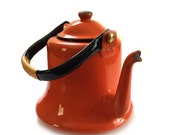 Vintage Orange Enamelware Teapot Kettle Japan Circa 1950s