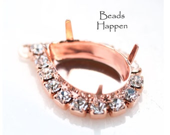 Rose Gold 18x13mm Pear Jewel Stone Setting with Swarovski Crystals, 4 Prongs, 1 loops  Pear Settings,  Rose Gold Rosegold plate, Qty 1
