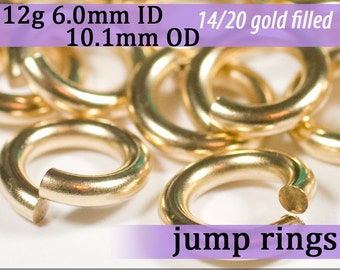 12g 6.0mm ID 10.1mm OD gold filled jump rings -- 12g6.00 goldfill jumprings 14k goldfilled