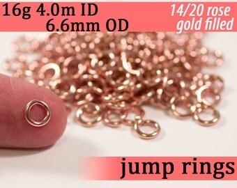 16g 4.0mm ID 6.6mm OD 14k rose gold filled jump rings -- pink goldfilled fill jumprings 16g4.00