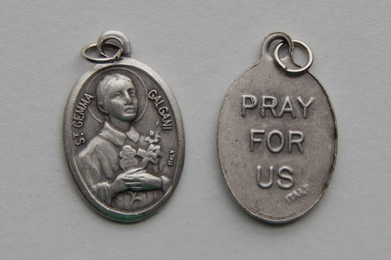 5 Patron Saint Medal Findings - St. Gemma Galgani, Die Cast Silverplate, Silver Color, Oxidized Metal, Made in Italy, Charm, Drop, RM409
