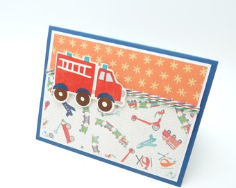 Firetruck Birthday Card, Little Boy's Happy Birthday Card, Fire Engine Card for Little Boys, Handmade Happy Birthday Greeting Card for Boys