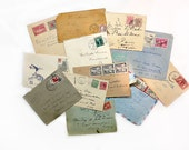 Old Envelopes with Stamps & Cancellation Marks, Collage Ephemera