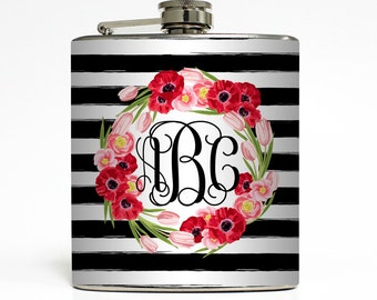 Custom Flask Personalized Rugby Stripe Flowers Name Monogram Custom 21st Birthday Women Gifts Stainless Steel 6 oz Liquor Hip Flask LC-1611