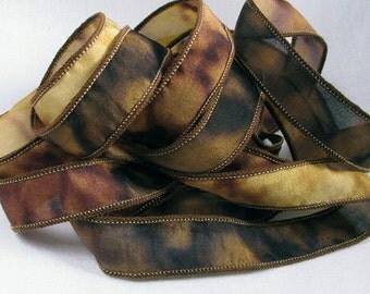 Silk Ribbon, Boho, Hand Dyed Silk Ribbons - Hand Painted, Bracelet Wrist Wrap - Quintessence - Western Ranch -