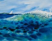 Breaking Wave, Watercolor Original, Seascape, Beach, Sailing, Coast, Ocean
