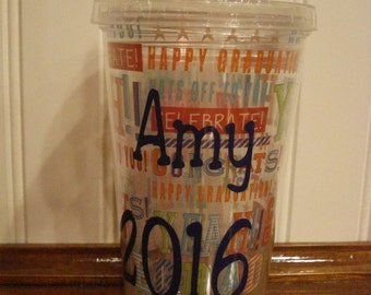 Graduation insulated Tumbler Personalized for Free! Makes a great gift! Great for parties.