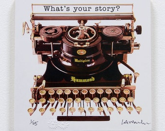 Typewriter Wood block - 'What's your story?' - ready to hang