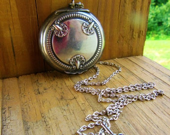 Antique Art Nouveau Deep Silver Beveled Mirrored Locket/Compact/Chateline/Pill Box Pendant/Snuff Box/Necklace