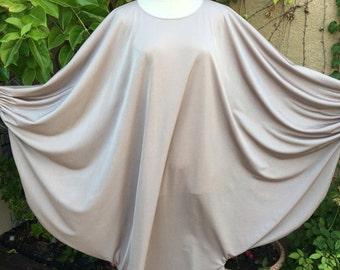 1970s vintage designer Samantha Scott light taupe blush oversized goddess bat sleeves maxi dress size L XL
