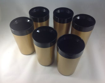 Retro Insulated Tumblers, Black and Gold, Set of Six, Boho