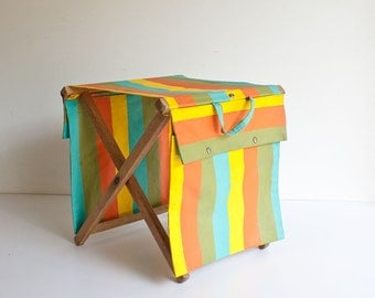 Vintage Mid Century Camping Stool Plant Stand