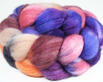 PARISIAN SUNSET  - Superwash Bluefaced Leicester roving - 4.0 oz