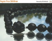 SALE Vintage Miriam Haskell Necklace Single Strand Jet Black Glass Faceted Beads Box Clasp Designer Jewelry Vintage Necklace Vintage Jewelry