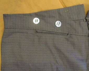 "35"" Waist - Button Fly Trousers - Brown Woven Cotton - two side pockets and a watch pocket - pewter buttons"