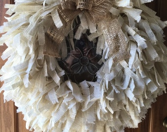 Creamy white burlap rag wreath