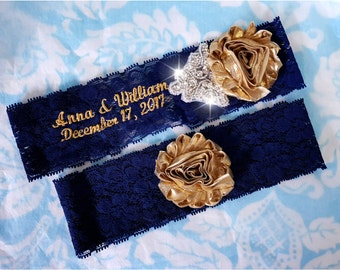 Navy and Gold Wedding Garter, monogrammed stretch lace garter, crystal, rhinestone, crystal garter, personalized, customized