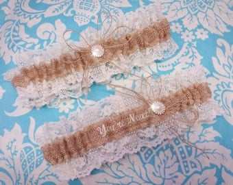 Burlap and lace wedding garter set,  You're Next Wedding Garter Embroidered with ivory font and pearl throw garter toss garter
