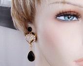 READY FOR SPRING Sale: Ashira Statement Bold Rhinestone Fox Head with Natural Black Onyx Briolette Teardrop Dangle, Drop Earrings