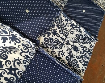Blue Damask Table Runner in Navy and White, Spring Runner with Buttons, Rag Quilt Style, Handmade in NJ