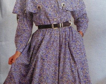 Western Dress Pattern Simplicity 8729 Size 8 to 14 Pioneer Dress Square Dance Dress with Ruffles UNCUT