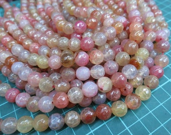 5 str (190pcs beads) -Beige Pink Agate 10mm Round Beads faceted
