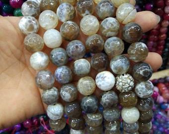 2 str -White Camel Brown Agate 14mm Round ball beads -28pcs/strand