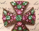 50% Signed Regency Rose Pink Peridot Green Maltese Cross Brooch