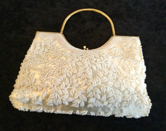Vintage LaRegale Ivory, Satin Beaded, Mother of Pearl and Gold Trimmed Purse.