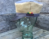 """Rasta Crown Tam Hat 23""""-25"""" Grey, Tan, jute, cotton with camouflage and brown  lining"""