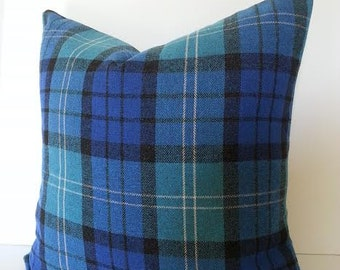 Blue and Black Aberdeen Tartan Pillow Cover / Blue Pillow Cover / Stewart / Plaid Pillow Cover / Lumbar / Square and Euro Shams