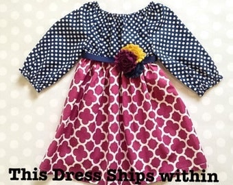 Navy and Plum Girl's Fall Dress - Long Sleeve Dress - Baby Girl Dress - Girls Dresses - Fall Dresses