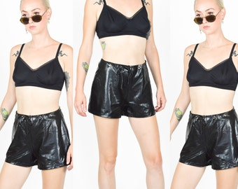 90's BLACK PVC HOTPANTS. High Waist. Silver Eyelets. Pleather Wetlook Shorts. 90's Grunge Mod Witchy. Black Vegan Leather Hotpants. 80s90s