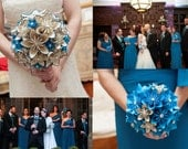 Books & Music Bridal Package- round style paper flower bouquets, one of a kind origami, customized wedding flowers