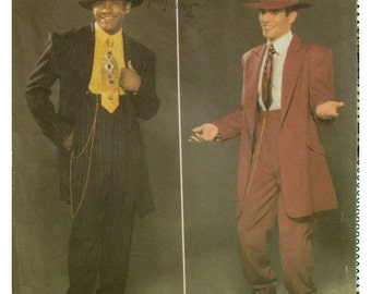 Mens Zoot Suit Pattern, Halloween Costume, Long Jacket, Pants, Narrow Ankles, Simplicity 4585 UNCUT Size Chest 38 40 42 44