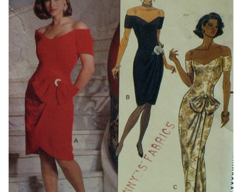 Morton Myles Off Shoulder Evening Gown Pattern, Fitted Bodice, Arm Cuffs,Straight Wrap Skirt,Low Waist, Butterick No.5212 UNCUT Size 8 10 12