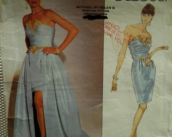 Bellville Sassoon Evening Gown Pattern, Strapless, Fitted, Shirred Top, Boned, Lined, Long Overskirt, Jewel Trim, Vogue No.2805 Size 12 14