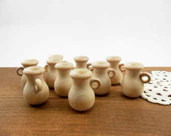 """Pitchers Wood Miniatures 1 1/8"""" H 15/16"""" W Unfinished - 10 Pieces"""