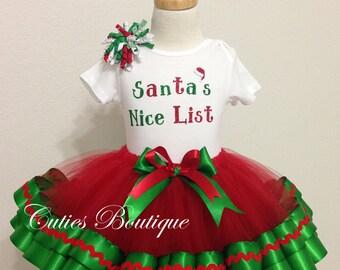 Christmas Santa's Nice List Christmas Birthday Outfit, Christmas Dress,Girl Dress. Holiday Dress --All Sizes