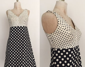 SALE 1970's Mod Mini Polka Dot Sleeveless Vintage Dress Sz Small by Maeberry Vintage