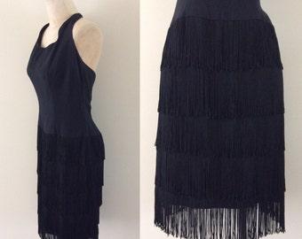 1960's Fringe Skirt Black Halter Dress