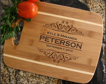 Personalized Cutting Board, Personalized Cheese Board, Custom Engraved, Bamboo Cutting Board, Wedding Gifts, Housewarming Gift-Stripe D7