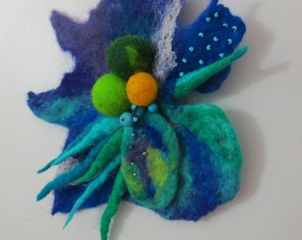 Felt flower brooch exotic L size