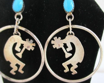 Large Kokopelli 925 Sterling Silver & Turquoise Earrings - Vintage Southwestern / Native American