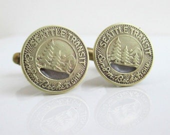 SEATTLE Transit Token Cuff Links - Gold, Vintage Repurposed Coin