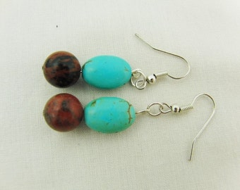 Mahogany Jasper and Turquoise Beaded Earrings, Jewellery, Pierced Ears, Accessories, Semi Precious, Gift, Birthday, Christmas, Anniversary