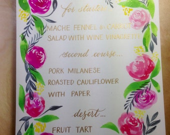 calligraphy watercolor painted event menu